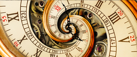 Foto de Antique old clock abstract fractal spiral. Watch classic clock mechanism. Old fashion clock roman arabic numerals clock hands Abstract effect spiral - Imagen libre de derechos