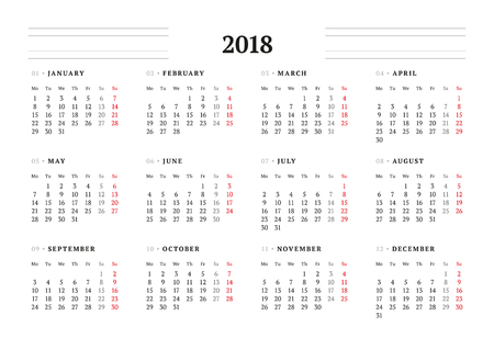Simple Calendar Template for 2018 Year. Stationery Design. Week starts Monday. Vector Illustration