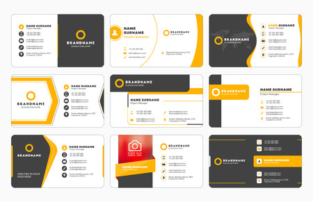 Illustration pour Set of modern business card print templates. Personal visiting card with company  . Vector illustration. Stationery design - image libre de droit