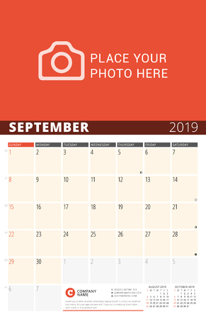 Wall Calendar Planner for 2019 Year. Vector Design Print Template with Place for Photo and Notes. Phases of the Moon. Week Starts on Sunday. 3 Months on Page. September 2019