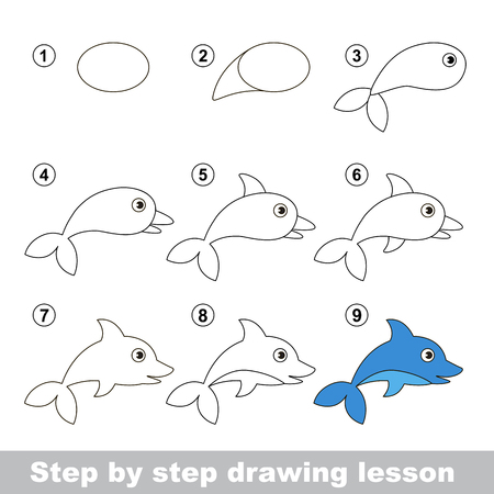 Step by step drawing tutorial. Vector kid game. How to draw a Dolphin