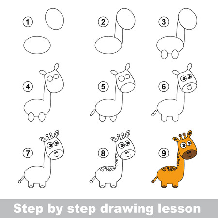 Step by step drawing tutorial. Vector kid game. How to draw a Giraffe