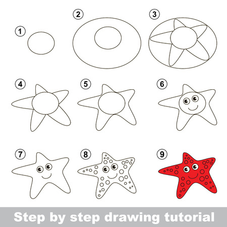Step by step drawing tutorial. Visual game for kids. How to draw a Starfish