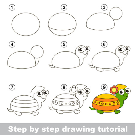 Step by step drawing tutorial. Visual game for kids. How to draw a Turtle