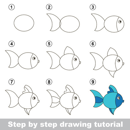 Step by step drawing tutorial. Visual game for kids. How to draw a Cute Fish