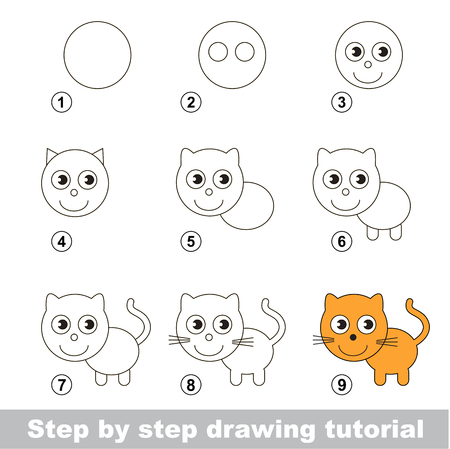 Step by step drawing tutorial. Visual game for kids. How to draw a Small Kitten