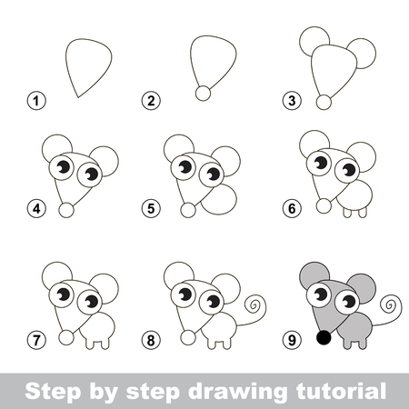 Step by step drawing tutorial. Visual game for kids. How to draw a Little Mouse