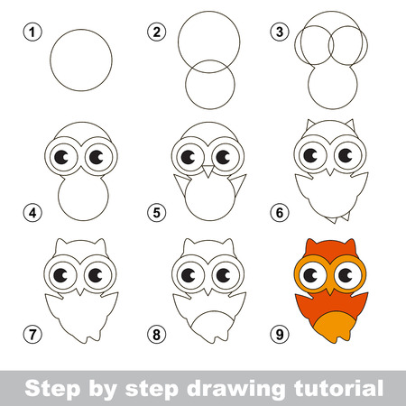 Step by step drawing tutorial. Visual game for kids. How to draw a Cute Owl