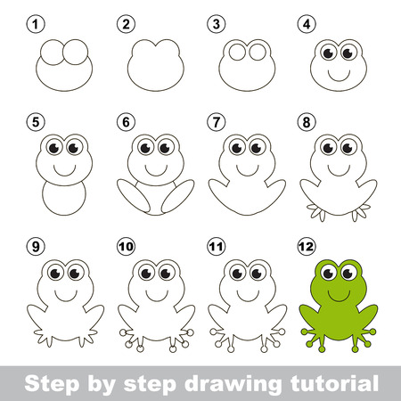 Green frog. Step by step drawing tutorial.