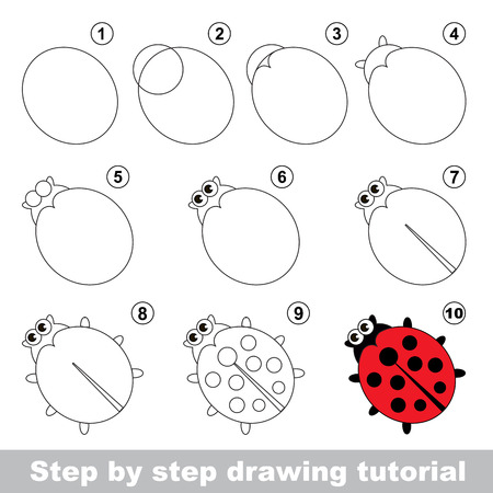 Red ladybug. Step by step drawing tutorial.