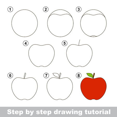 Step by step drawing tutorial. Visual game for kids. How to draw an Apple