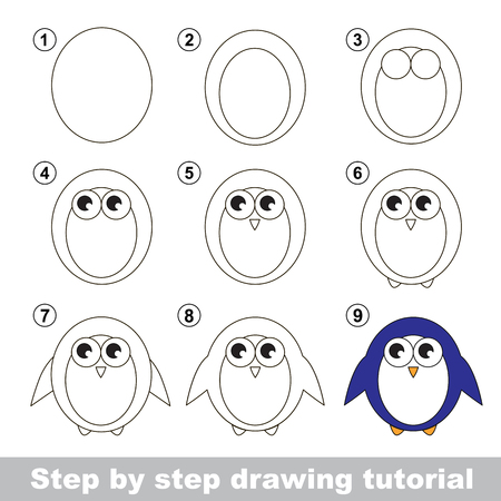 Step by step drawing tutorial. Visual game for kids. How to draw a Penguin