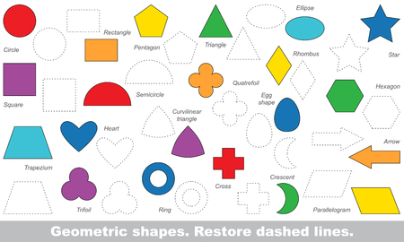 Photo pour Set of simple shapes in vector to be traced. Restore dashed line and color the picture. Trace game for children. - image libre de droit