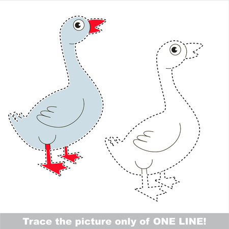 Farm Goose to be traced only of one line, the tracing educational game to preschool kids with easy game level, the colorful and colorless version.