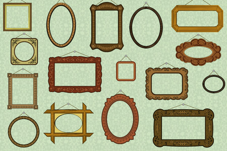 Retro background with old-fashioned frames