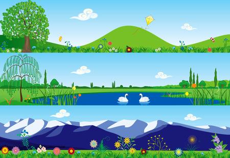 Foto de Three banners with summer tranquil scenery - Imagen libre de derechos