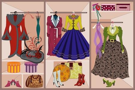 Ilustración de Wardrobe with vintage clothing - Imagen libre de derechos