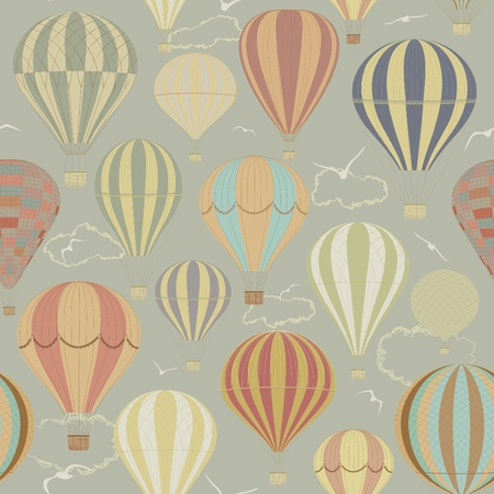 Seamless pattern with hot air balloons in a retro style