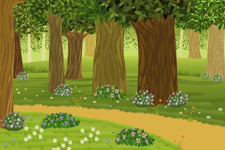 Trees and flowers in an enchanted forest