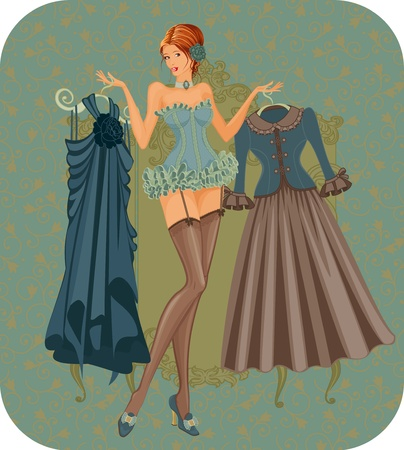 Illustration of a beautiful woman in corset with dresses in vintage style