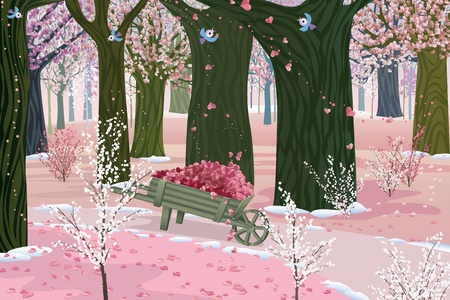 Blooming forest on Valentine