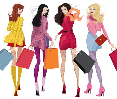 Four beautiful young women with shopping bags over white background