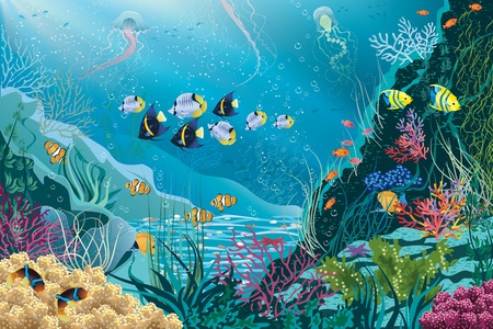 Underwater landscape with various water plants and swimming tropical fishes  All objects are grouped