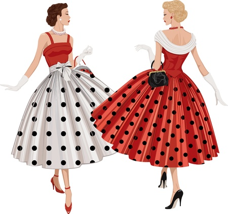 Illustration pour Two elegant women the brunette and the blonde dressed in polka dots garments inspect each other passing by - image libre de droit