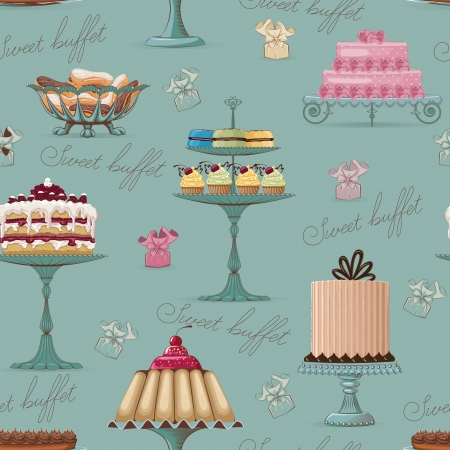 Seamless pattern with different cakes