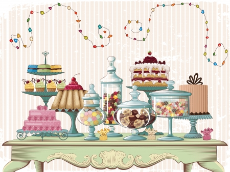 Different cakes and glass jars with candies set on the old-fashioned table  All objects are grouped and separated to layers