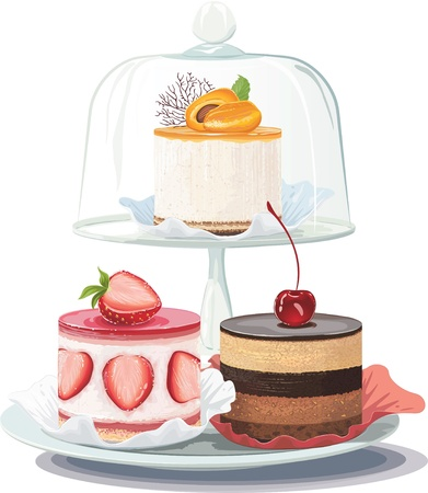 Strawberry creamy cake and chocolate cake on plate and apricot cake on cake stand under glass dome over white background