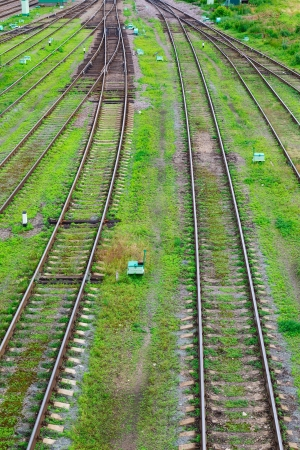 fork in the road and railway tracks on a background of green grass