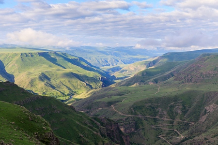 Panoramic view of the highland in the valley of the river Kura from the height of the hill. Georgia