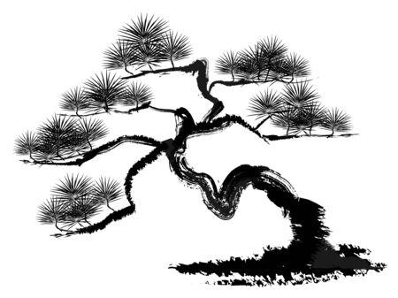 Ilustración de Ink painting illustration of a pine tree - Imagen libre de derechos