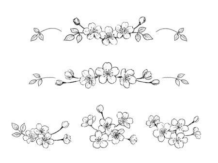 Ilustración de Flower pencil drawing of cherry blossoms - Imagen libre de derechos