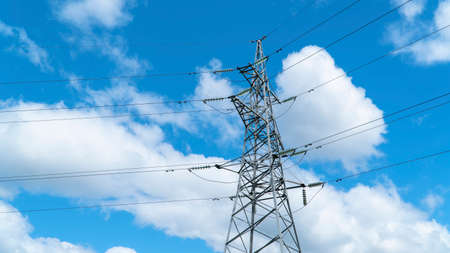 Photo for Power Tower against the blue sky. electric stand - Royalty Free Image