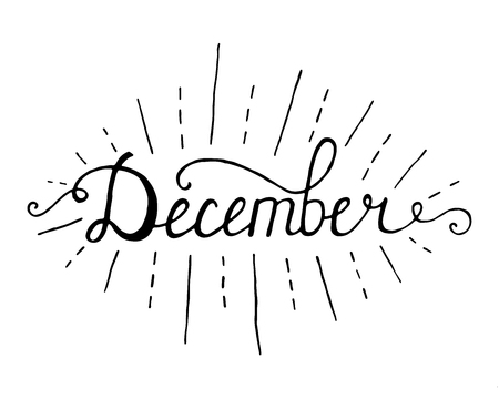December. Typographic Design. Black Hand Lettering