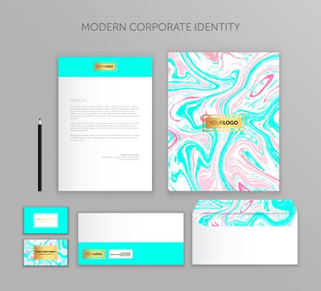 Corporate identity business set. Modern stationery template design. Documentation for business.Set of envelope, card, folder, etc. Vector illustration.Abstract background