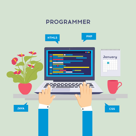 Illustration for Workplace of programmer or coder. Software coding, programming languages, testing, debugging, web site, search engine seo Vector illustration in flat style - Royalty Free Image