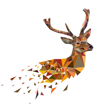 Ilustración de Multicolor deer head with horns. Vector illustration in polygonal style. - Imagen libre de derechos