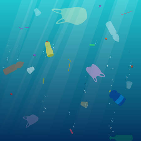 Illustration for Plastic ocean pollution. Underwater garbage bags, bottles, cups, straws. Ecological concept. Environment. Vector illustration. - Royalty Free Image