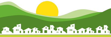 Illustration for Little village silhouette with green mountain - Royalty Free Image