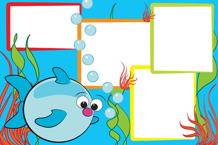 Kid scrapbook with a fish end air bubbles - Photo frames for childrenのイラスト素材