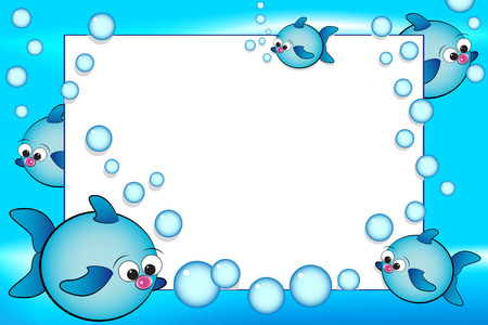 Kid scrapbook with fish and bubbles - Photo or message frames for children