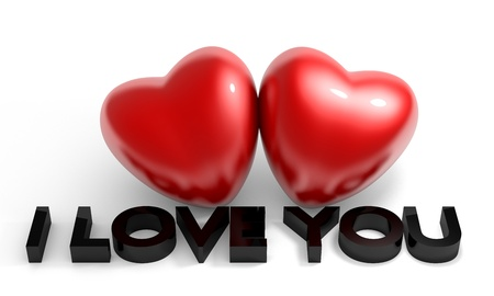 Photo pour Valentine's Day image, two glossy heart with I love you text - image libre de droit