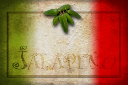 Tipycal Mexican food: green jalapeno on Mexico flag