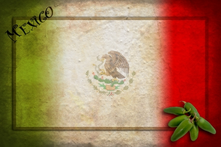 Typical Mexican food: green jalapeno on Mexico flag