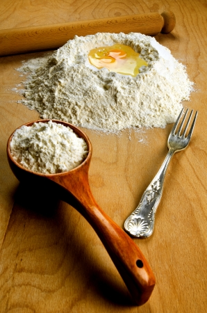 Homemade italian fresh pasta ingredients: flour and eggs