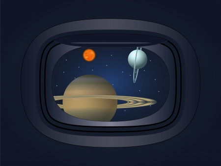 view of the planet through the window spacecraft