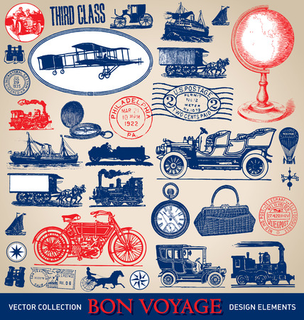 Photo pour Vintage travel illustrations set  vector  - image libre de droit